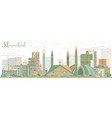 abstract islamabad skyline with color buildings vector image vector image