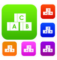 alphabet cubes with letters abc set collection vector image vector image