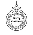 bauble with bow pattern and words merry christmas vector image