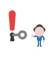 businessman character unlock exclamation keyhole vector image vector image