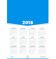 calendar design template for 2018 year week vector image vector image