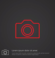 camera outline symbol red on dark background logo vector image vector image