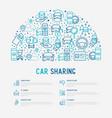 car sharing concept in half circle vector image vector image