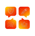 chat pencil and protection shield icons vector image