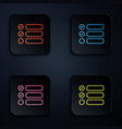 color neon line task list icon isolated on black vector image vector image