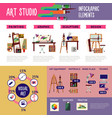 colorful art studio infographic concept vector image