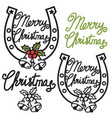 cowboy christmas symbol with lucky horseshoe vector image vector image