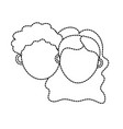 dotted shape couple lover head with hairstyle vector image
