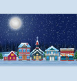 fabulous snow covered town in the christmas night vector image