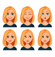 face expressions of woman with blond hair vector image vector image