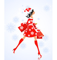 fashion young woman santa with purchase vector image vector image