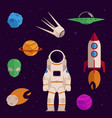 flat space cosmos objects icon set vector image