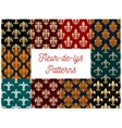 fleur-de-lys royal french lily seamless patterns vector image