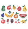 fruit character doodle vegetarian food mascots vector image vector image