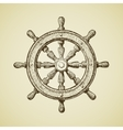 hand-drawn vintage ships wheel in old vector image vector image