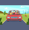 happy family in car people father mother kids vector image vector image