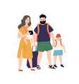 happy travel family with baggage and hand luggage vector image vector image