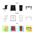isolated object of furniture and apartment symbol vector image vector image