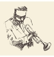 JAZZ Man Playing the Trumpet Hand Drawn Sketch vector image vector image