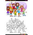 kids and teens characters group coloring book vector image vector image