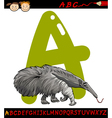 letter a for anteater cartoon vector image vector image