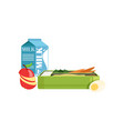 lunch box with apple carrot egg and milk vector image vector image