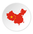 map of china in national flag colors icon circle vector image vector image
