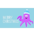 Merry christmas wish on blue background card with vector image