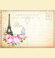 old blank postcard with post stamps and eiffel vector image vector image