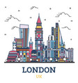 outline london england uk city skyline with color vector image vector image