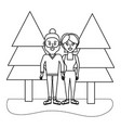 outline woman and man couple with casual clothes vector image vector image