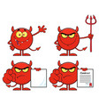 red devil cartoon emoji character collection vector image
