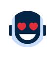 robot face icon smiling face emotion robotic emoji vector image