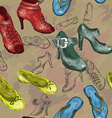 Seamless Patterned Background with Woman Shoes vector image