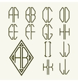 Set 1 templates of letters to create monogram vector image vector image
