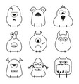 set cartoon cute funny monsters vector image