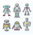 set cartoon friendly robots vector image vector image