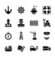 set icon port ship in glyph style vector image