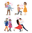 set of couples in love hugging dance tango vector image