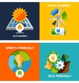 Set of flat design concepts - green energy vector image vector image
