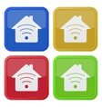 set of four square icons - house with signal vector image vector image