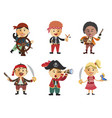 set of pirates cartoon pirate icon set vector image