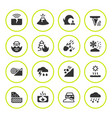 set round icons natural disaster vector image