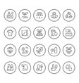 set round line icons ecology vector image