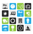 Silhouette Vacation and holiday icons vector image vector image