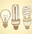 Sketch economic light bulb in vintage style vector image vector image