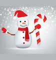 snowman holding a christmas candy vector image