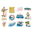surf badge and wave palm tree and ocean tropics vector image vector image