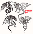 tattoo collection from hand drawn dragons vector image