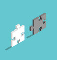 two isometric puzzle pieces vector image
